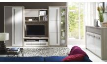 Obývací stěna ROMA jilm/bílá lesk/šedá mat